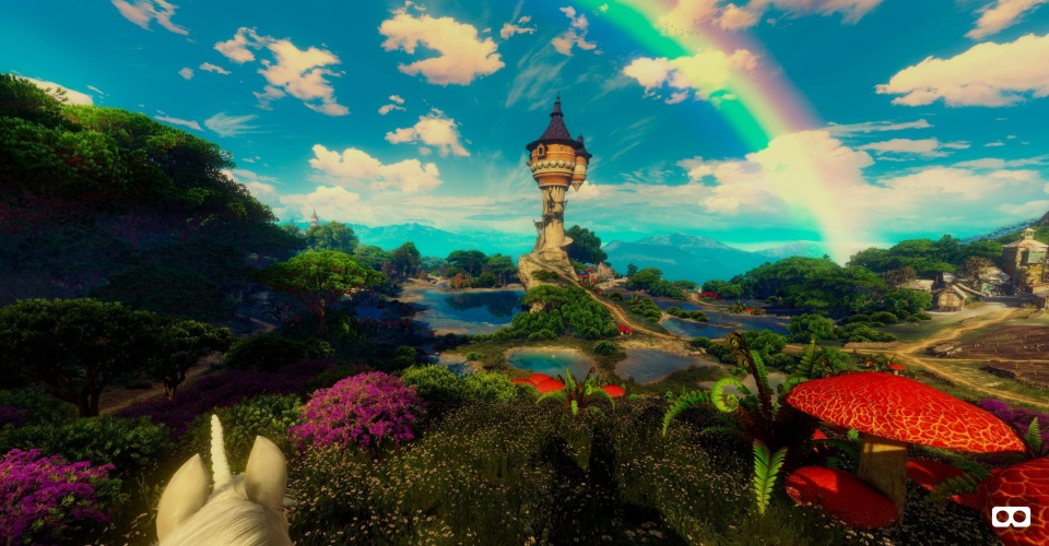A-Frame and Ansel preview. A rainbow over a tower, blue skies and flowers; a stereo panorama from The Witcher 3.