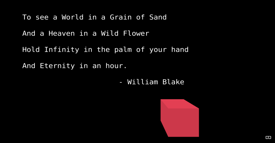 Bmfont-text preview image. A quote by William Blake and a red cube to demonstrate Matt DesLauriers' three-bmfont-text.