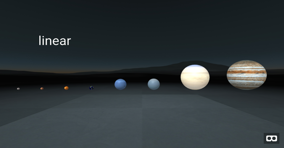 Planetary scaling preview. The eight planets in our Solar System lined up and scaled.