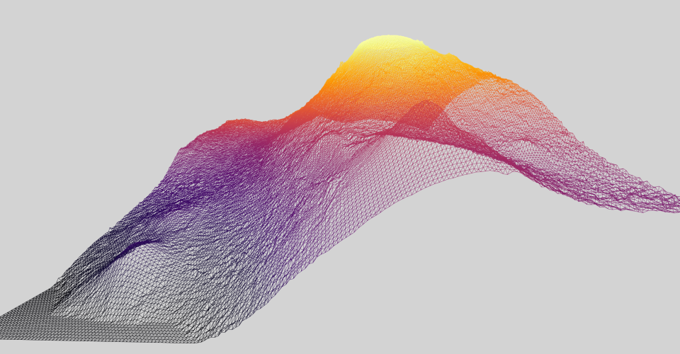 Preview of terrain model. A multicolored wireframe mountain range.
